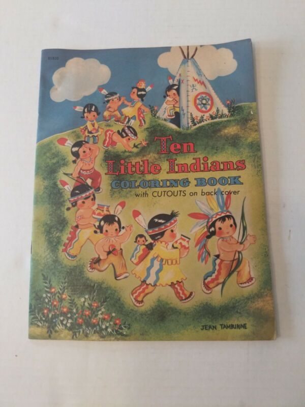Vintage 1940s 10 Little Indians Coloring Book Cutouts On Back Cover Unused