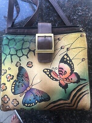 Signed Anuschka Floral Butterfly Hand-Painted Leather Crossbody Purse Handbag