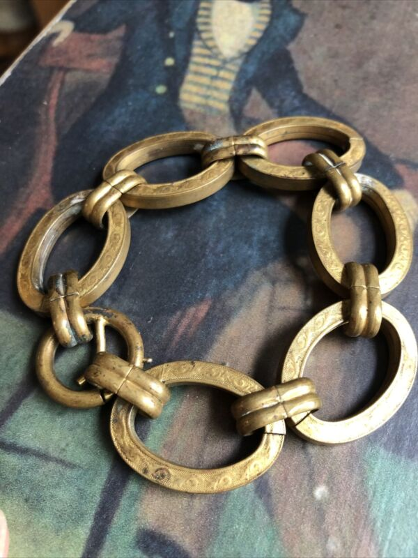 Antique Victorian Chunky Brass Metal Fancy Engraved Link Chain Bracelet
