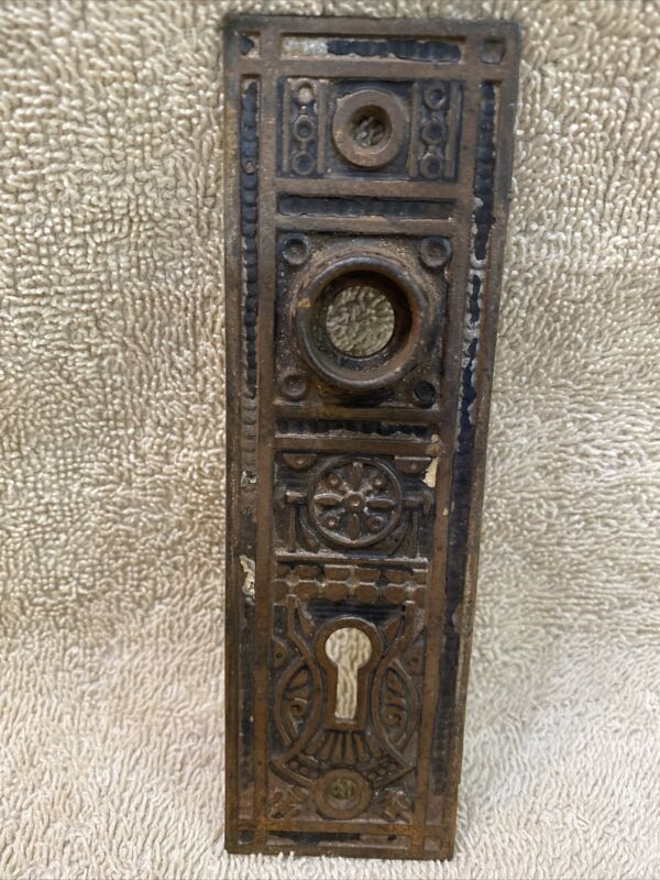 Antique Cast Iron Victorian East Lake Door Knob Doorknob Back Plate Escutcheon