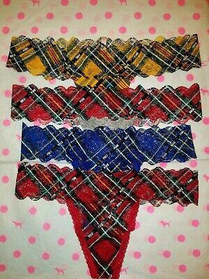 NWT Victoria's Secret PINK Lace Trim Thong Panty - XS S M L Gold Red Blue Plaid