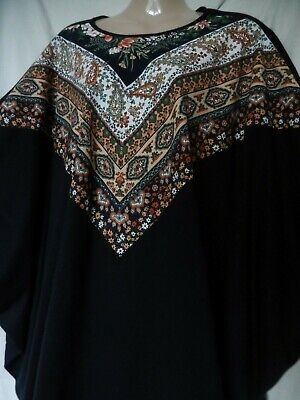 St Michael Vintage Dress 60's 70's Indian Boho Kaftan Paisley 16 18 44 46 12 14