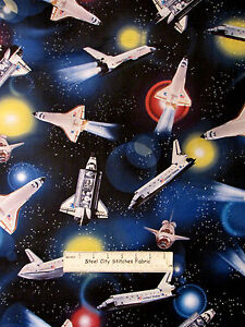 Flying high space ship shuttle fabric 100 cotton by the for Space shuttle fabric
