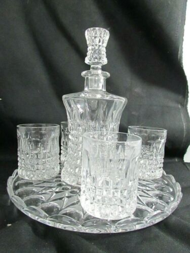 Double Old Fashioned Glass Tumbler Gorham Crystal Fairfax Pattern Decanter