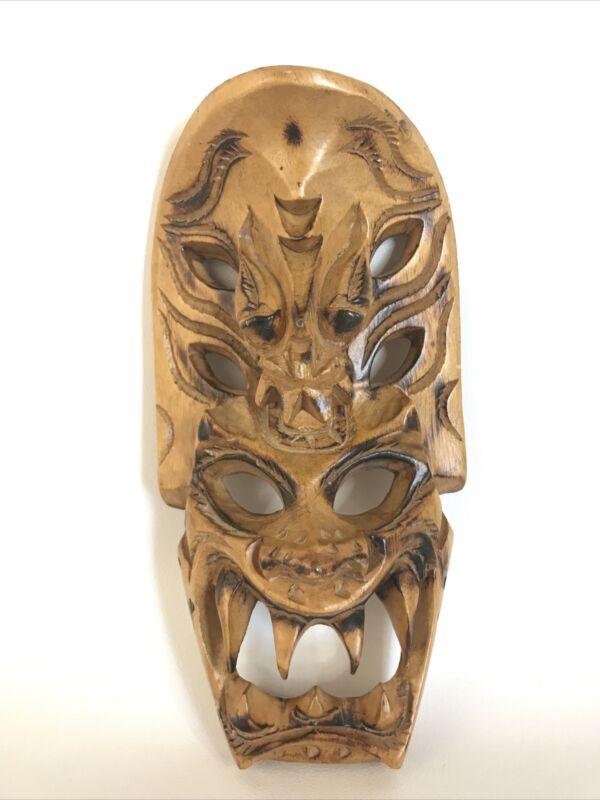 """Vintage Teak Wood Carved Mask Scarp Sharp Teeth Islander or Asian 8"""" Hangable"""
