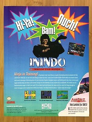 Inindo: Way of the Ninja SNES 1993 Vintage Print Ad/Poster Authentic Retro Art