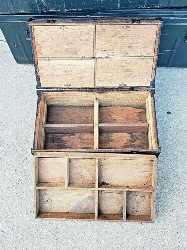 Primitive Antique rare advertising fruit box Unique chest trunk w/ compartments