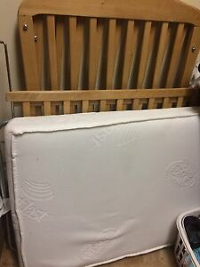 Wooden Crib and Mattress