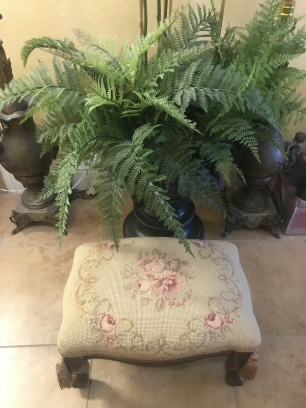 "Antique Edwardian Era Louis XV 16"" Floral Needlepoint & Carved Walnut Footstool"