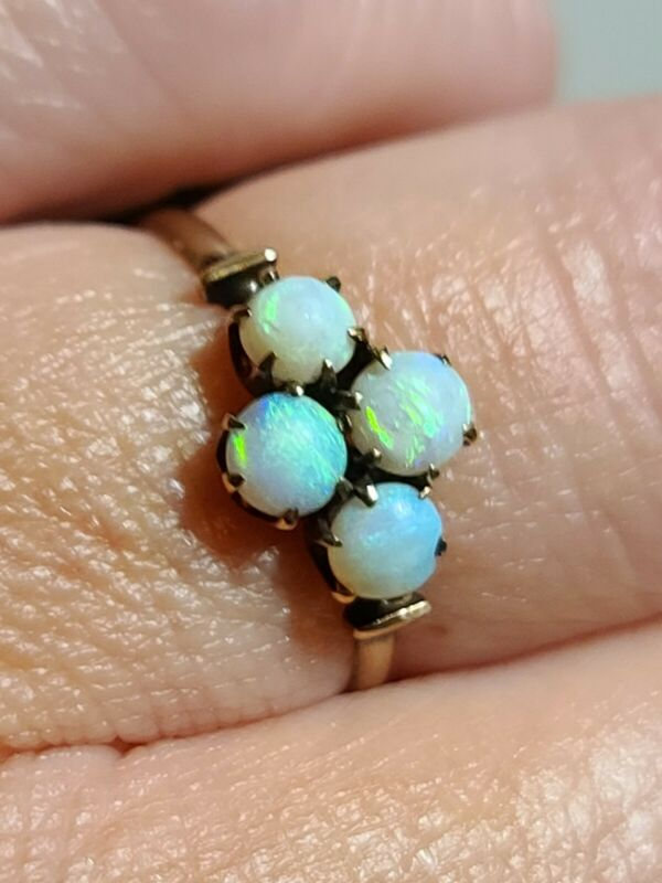 Antique Victorian 10kt Rosy-Yellow Gold & Opal Cluster Ring, GORGEOUS!