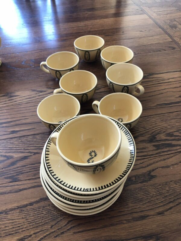 Gien France Alize Cups And Saucer Set For 8 Yellow & Black Faience