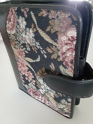 Franklin Covey Vintage Compact Open Snap Leather Tapestry Flower Floral Binder