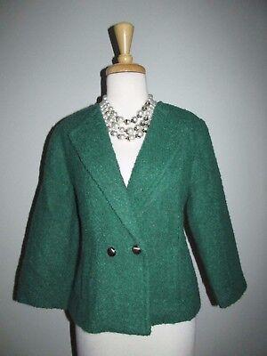 CAbi Size 8 Ivy Green Wool Boucle Cropped Jacket Blazer Style 532 for sale  Beloit