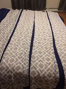 Two sets of green/white sheers. 7ft in length