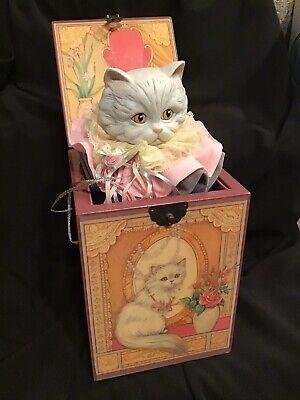 "Enesco Faith Wick Pasha Persian Cat Jack In The Box Music Box ""Memory"" From Cats"