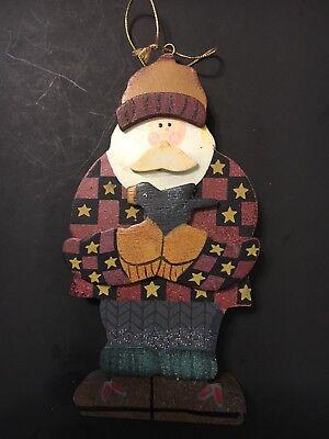 Debbie Mumm Bird - 2000 Debbie Mumm Wood Outdoorsy Lodge Look Santa Ornament With Bird