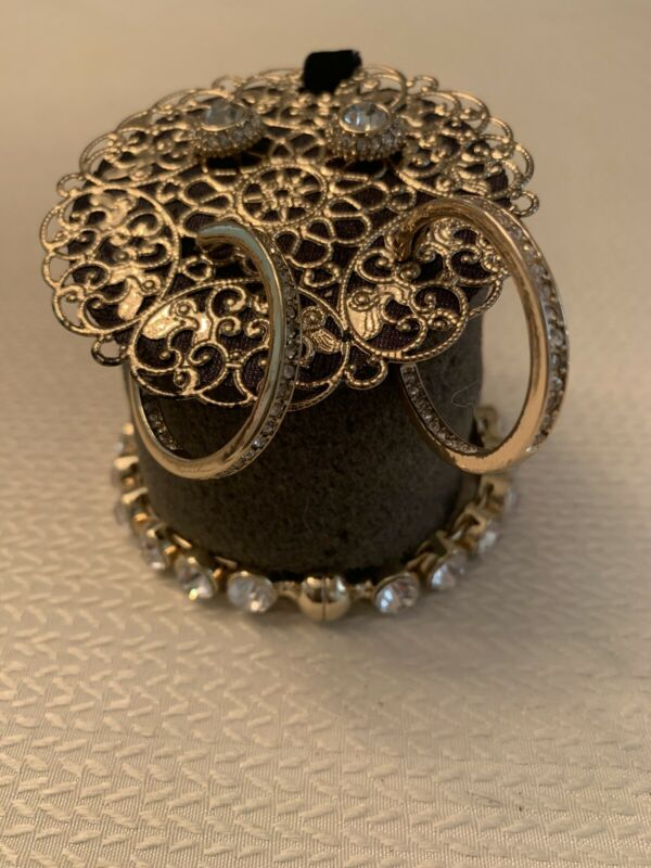 Chicos Gold/Rhinestone Bangle & Two Earrings Hoop & Stud Set NWT ~ Gift Quality