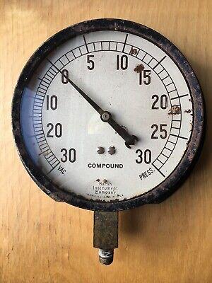 Vintage Marsh Instrument Company Compound Gauge 6.25 Face Steam Punk Mancave
