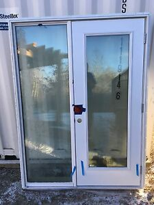 Door and full glass sidelite