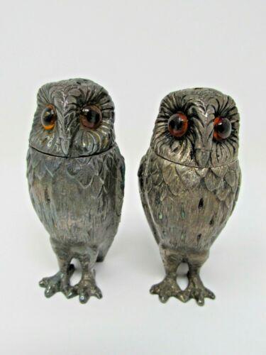 Vintage Tiffany & Co. Sterling silver Owl Salt & Pepper Shakers ORNATE SET