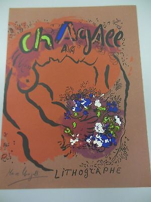 "MARC CHAGALL HAND SIGNED LITHOGRAPH IN BLACK PENCIL ""LITHOGRAPHE"" 1960s COA"