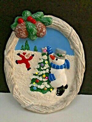 Vintage Christmas Musical Light Up Decoration Xmas Tree Snowman Ceramic Handmade