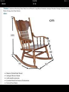 Solid oak rocking chair antique with carved back MOVING SALE