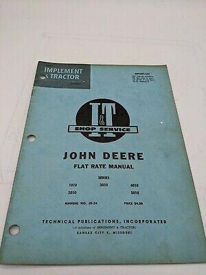 I T Tractor Shop Service Flat Rate Manual John Deere 1010 2010 3010 4010 5010