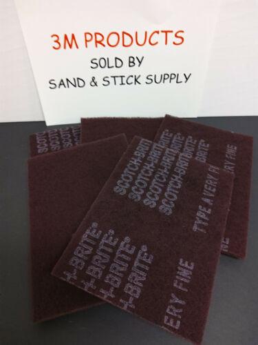 3M SCOTCHBRITE 7447 MAROON PADS 6X9 SCOURING-FINISHING 5 PADS FREE SHIPPING