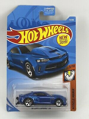 2019 Hot Wheels #71 Muscle Mania '18 COPO CAMARO SS Blue Variant w/5 Spokes
