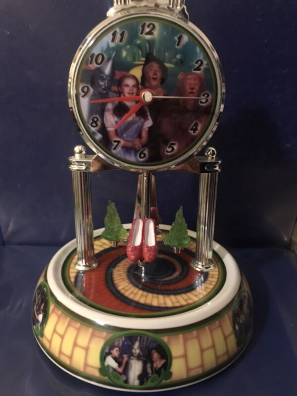 RARE Wizard of Oz Anniversary Clock Ruby Slippers Porcelain  Missing glass  top