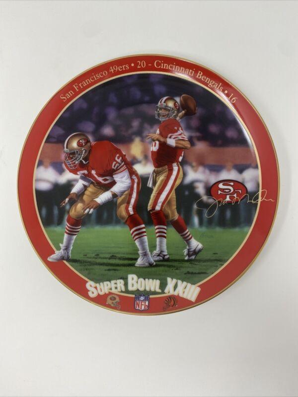 Joe Montana 49ers NFL Super Bowl 23 Bradford Exchange Plate 22k Gold Trim~w/COA