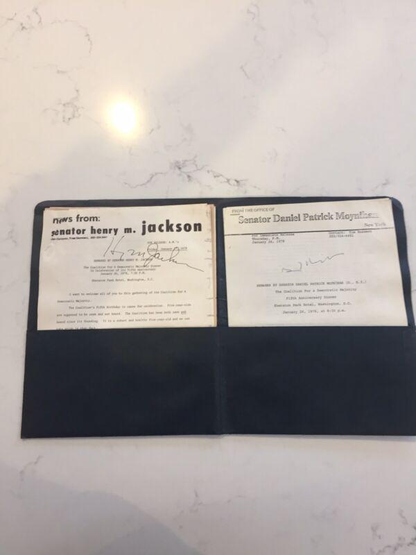 "Henry ""Scoop"" Jackson & Daniel Patrick Moynihan Autographed Press Releases 1978"