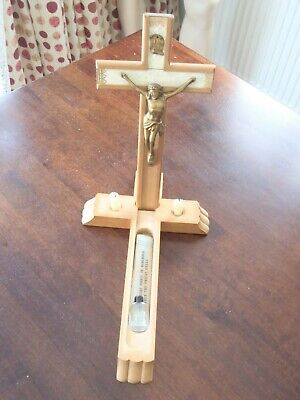 Vtg Wooden Crucifix Cross Last Rites Sick Call Set Candles Holy Water Exorcism