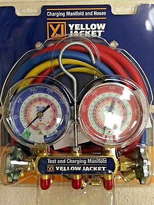 """Yellow Jacket Refrigeration Gauge SET R404a, R410a, R22 w/60"""" Hoses for sale  Shipping to Canada"""