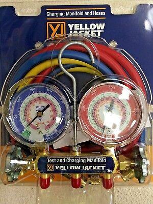 Yellow Jacket Refrigeration Gauge Set R404a R410a R22 W60 Hoses