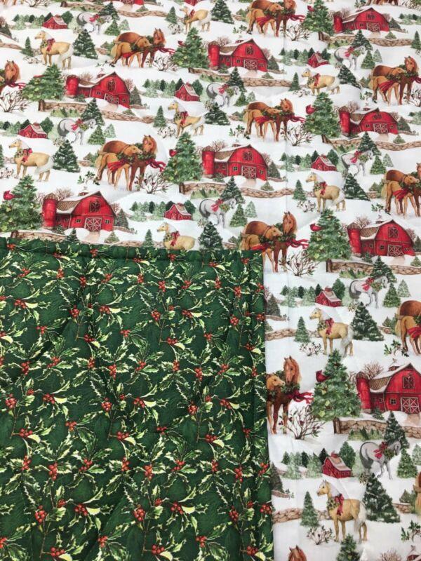 Horses Christmas Lap Quilt