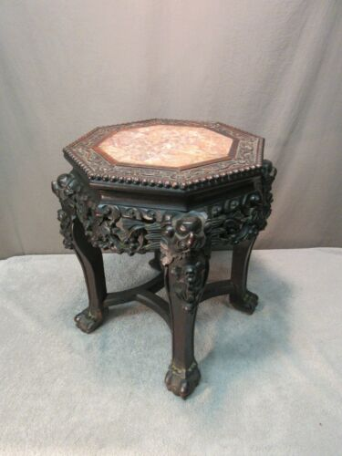 Antique Chinese Table - Carved Wood & Pink Marble (vintage plant stand)