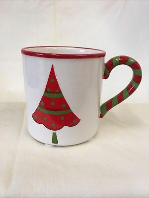"Yankee Candle Votive Holder Christmas Tree Mini Mug Cup White Red Green 2 3/4""H"