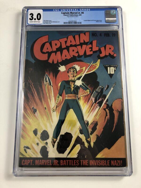 Captain Marvel Jr.#4 CGC 3.0 Fawcett Comics 1943 Classic Raboy Cover