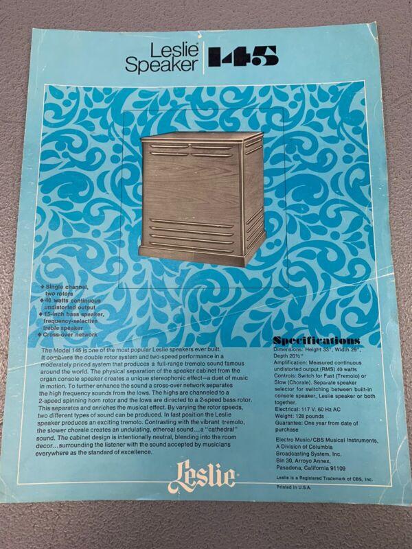 Vintage 1970's Leslie Organ Combo Speaker Model 145 Dealer Spec Sheet