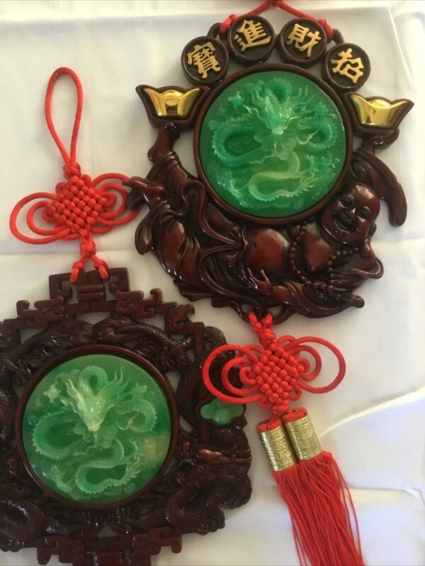 """Vintage 2 LARGE 30"""" Chinese Lucky Red Knot Resin Wall Hanging Jade Color Dragon"""