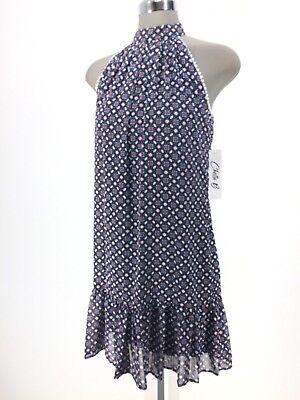 Chetta B New With Tag Ivory NAVY/CORAL halter printed ruffled hem Dress  - Chetta Print