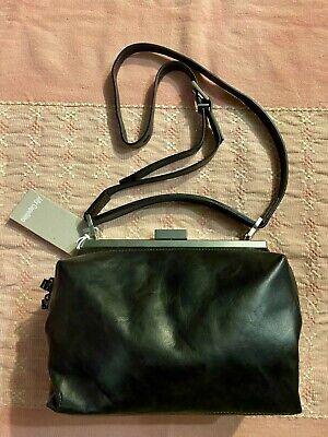 Ally Capellino UK Designer Black Leather Cross Body NICO SOFT FRAME Purse Bag