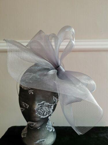 grey crin fascinator headband headpiece wedding party piece race ascot