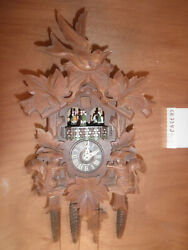 Cuckoo Clock Balck Forest German SEE VIDEO Hand Carved Musical 1 Day CK2342