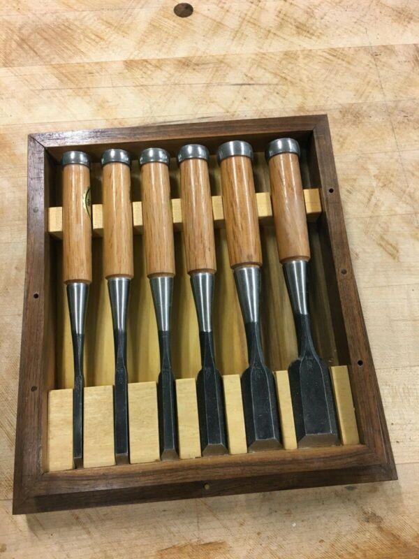 Iyoroi Japanese Chisels, laminated blades, Set of 6 + 375g traditional hammer