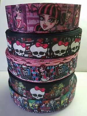 """5 Yards 7/8"""",1"""" monster high Mix Lot Grosgrain Ribbon Hair Bow Supplies. for sale  Perris"""