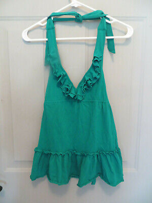 VS Moda ~ Bright Teal Cotton Jersey Ruffle Shelf Bra Halter Top XS New
