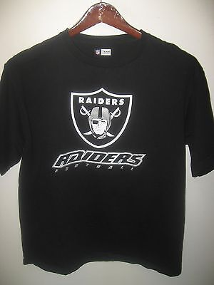 Oakland Raiders Football California USA NFL Team Apparel Black Silver T Shirt Lg